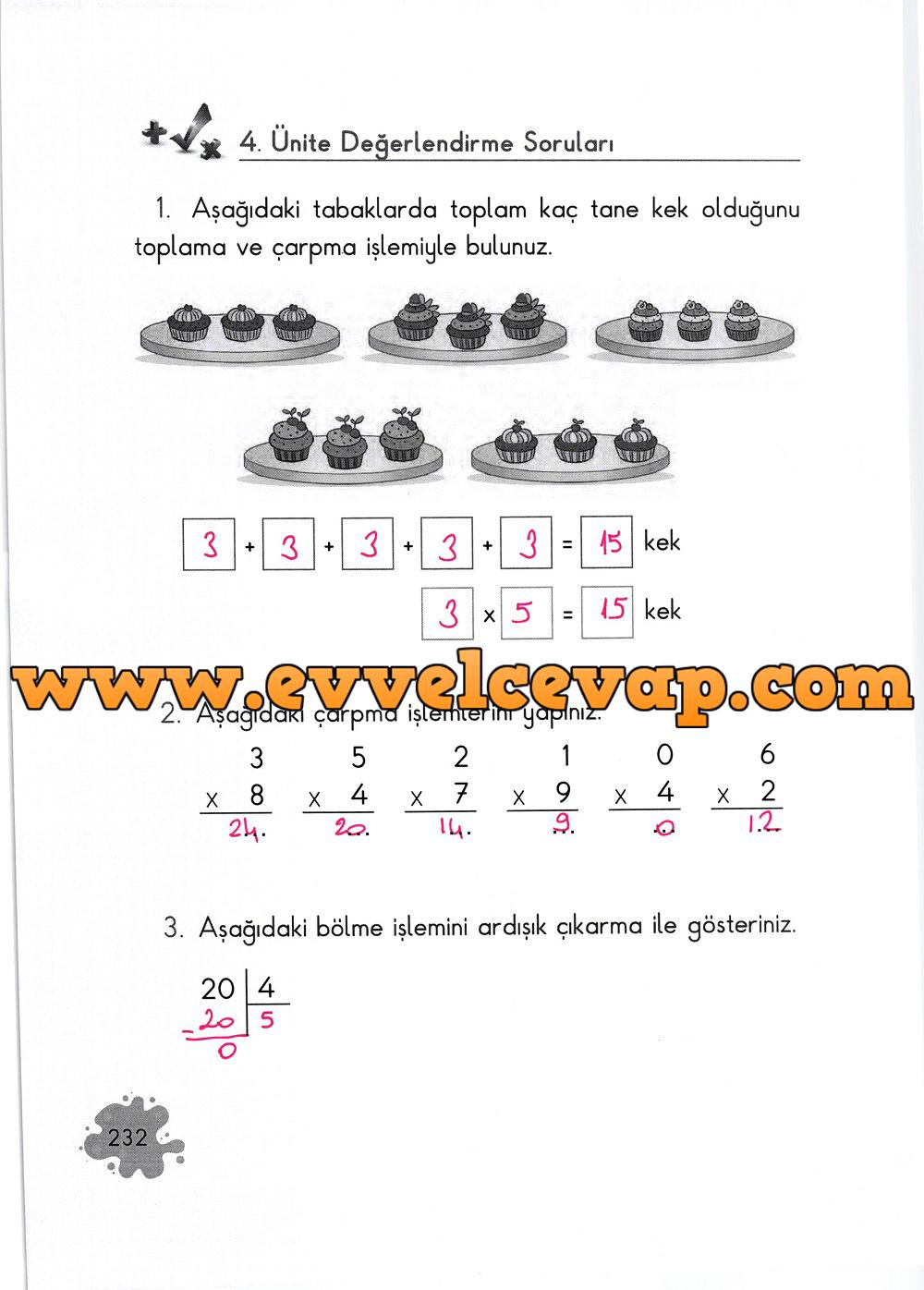 2. Sınıf Açılım Yayınları Matematik Ders Kitabı 232. Sayfa Cevapları