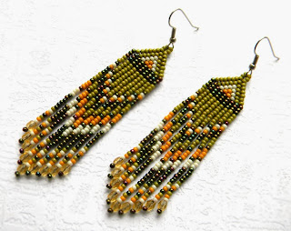 seed bead earrings beadwork jewelry beaded earrings olive