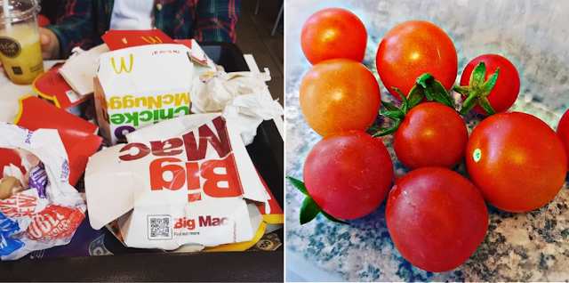 McDonalds wrappers and tomatoes