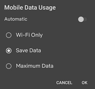 Mobile data usage settings Netflix