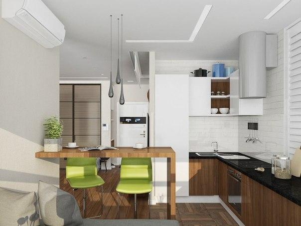 кухня в студии с диваном и барной стойкой