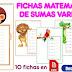 10 fichas matemáticas de sumas variadas listas para imprimir en formato PDF. 1º y 2º grado primaria