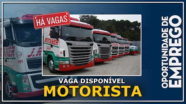 J.Rotaner Transportes abre vagas para Motorista