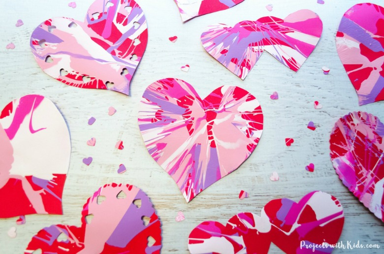spin art heart Valentines Day crafts for toddlers