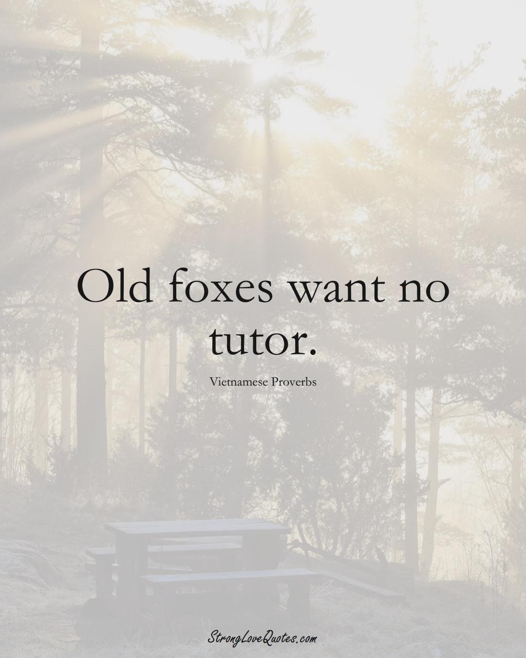 Old foxes want no tutor. (Vietnamese Sayings);  #AsianSayings