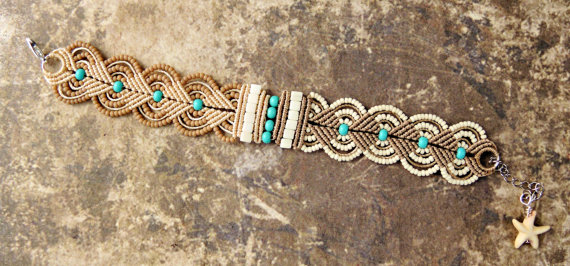 Micro macrame bracelet with starfish by Sherri Stokey.