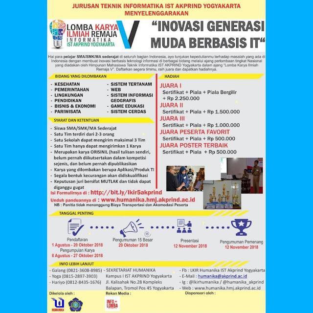 Contest Lomba Karya Ilmiah Remaja V 2018 Yogyakarta