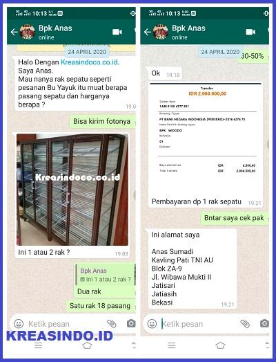 Rak Sepatu Aluminium Coklat Cotaing pesanan Bpk Anas di Jatiasih Bekasi