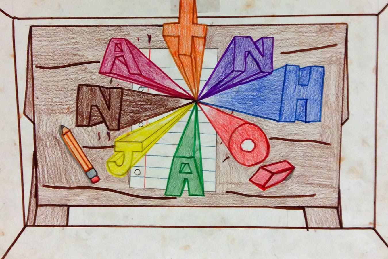 Name Drawings: Art At Leestown: One Point Perspective Name Drawings