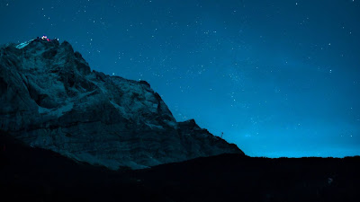 Lake, Mountains, Forest, Night, Stars, Sky