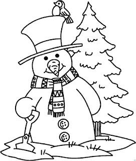 דף צביעה איש שלג עם ציפור על הראש