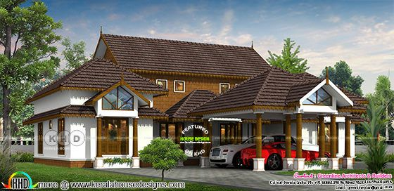 Traditional slop roof Kerala home deisgn
