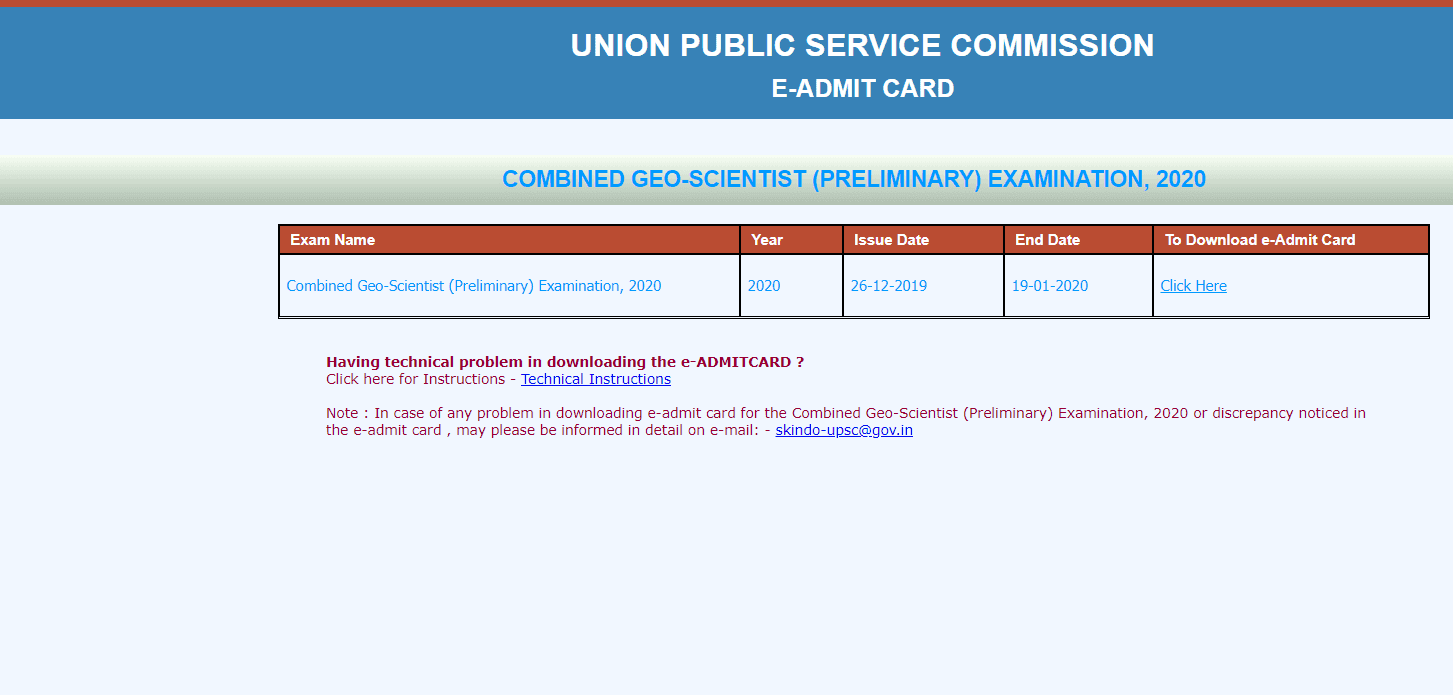 Combined Geo-Scientist (Preliminary) Examination, 2020 Admit Card