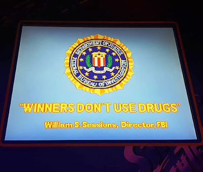 William S. Sessions arcade game attract screen message at 7 Sins in Manchester