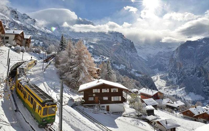 Interlaken Oberland sci Bernese Cantone di Berna Svizzera