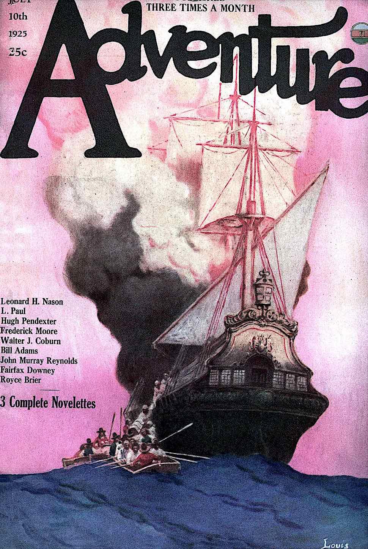 Adventure Magazine July 10 1925, a pink illustration of a burning ship