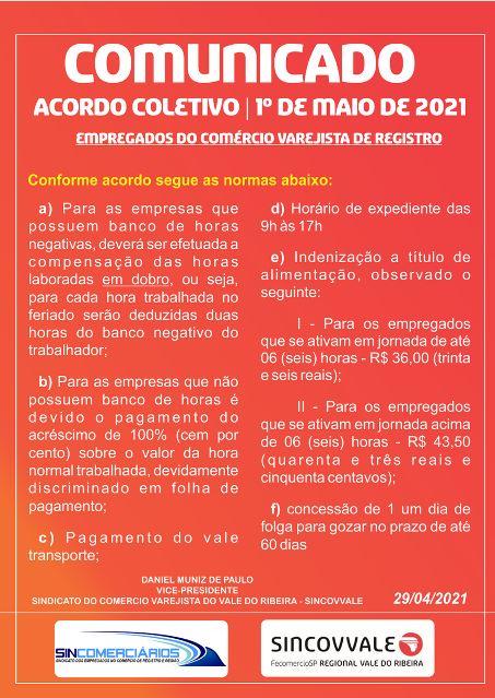 ACIAR e SINCOMERCIÁRIOS FIRMAM ACORDO  E COMÉRCIO FUNCIONARÁ DIA 1 DE MAIO