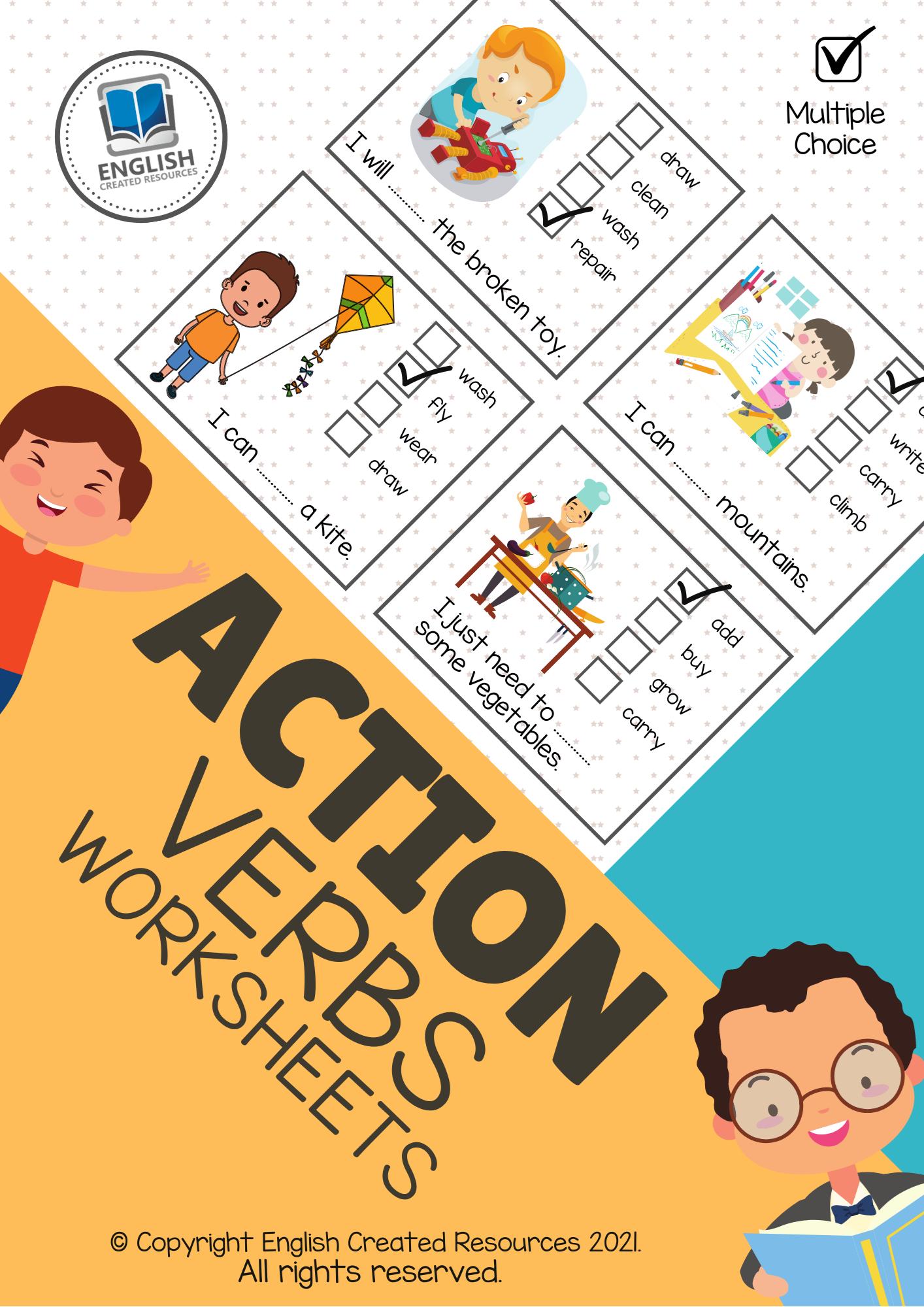 Action Verbs Activity Book [ 2000 x 1414 Pixel ]