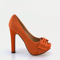 Pantofi dama orange piele eco ( )