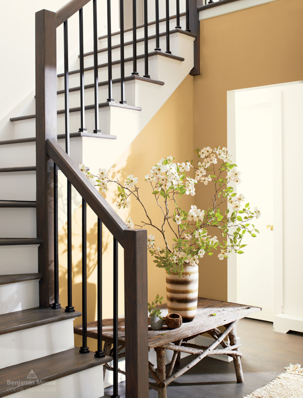 traditional entry with dark wood stair railing and walls painted with Chestertown Buff