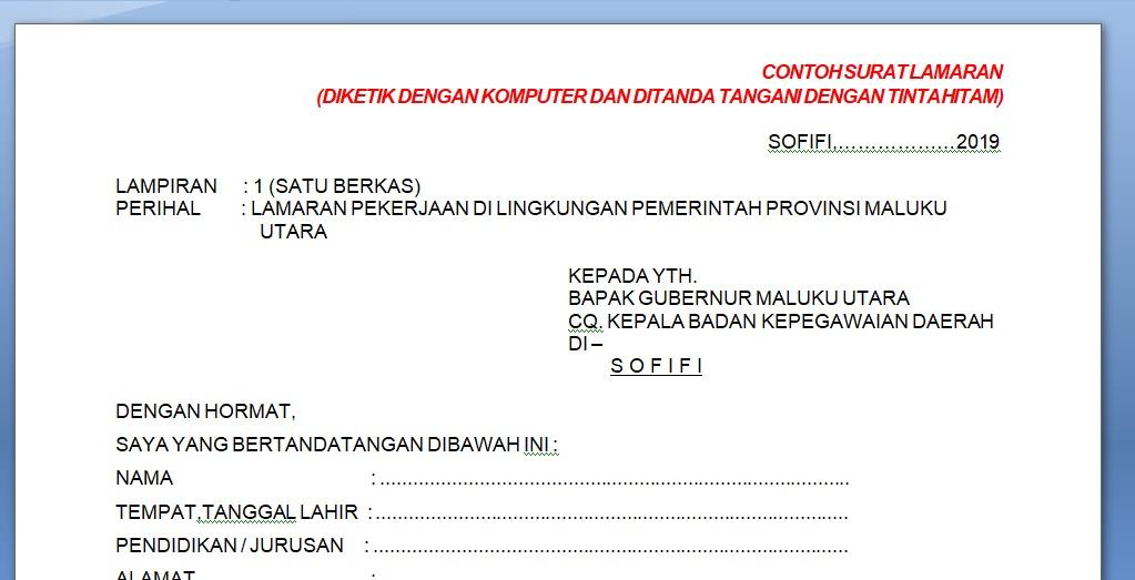 Contoh Surat Lamaran Cpns 2019 Provinsi Maluku Utara Download
