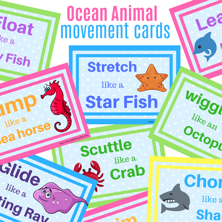 Ocean animal action movement cards for kids. Keep toddlers and preschoolers active with these ocean animal themed printable activity cards