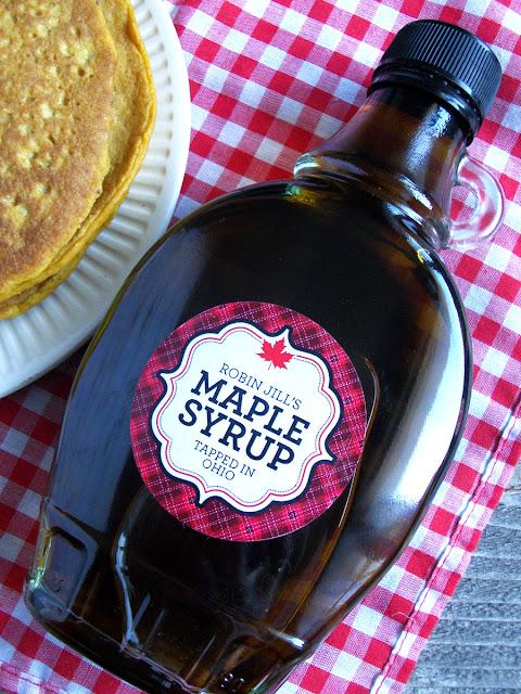 Custom Plaid maple syrup labels