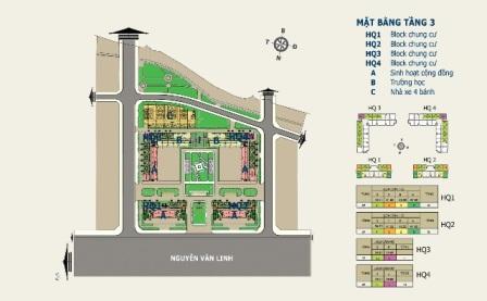 Mặt bằng tầng 3 Nhà ở xã hội: Căn hộ trả góp HQC Plaza tại TPHCM