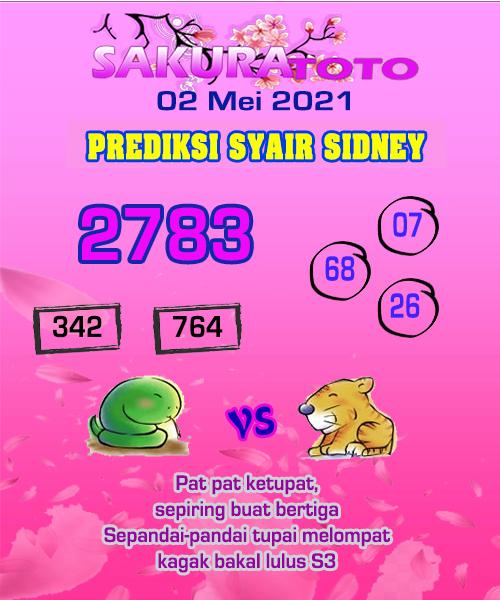 Syair Sakuratoto Sidney Minggu 02 Mei 2021