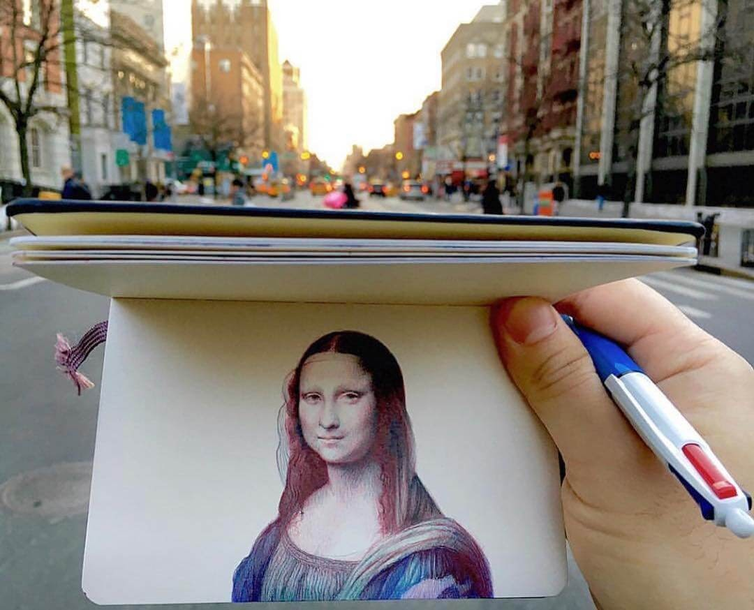 03-Nicolas-V-Sanchez-Mona-Lisa-Ballpoint-Pen-Moleskine-Portraits-and-a-Dog-www-designstack-co