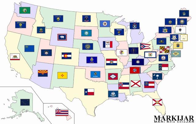 Bendera dari berbagai negara bagian di amerika serikat