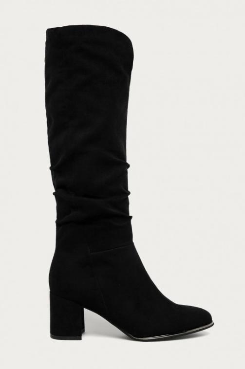 Marco Tozzi - Cizme negre cu toc gros inalte sub genunchi