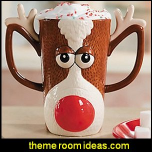 Reindeer Face Holiday Mug  christmas kitchen decorations - Christmas table ware - Christmas mugs  - Christmas table decorations - Christmas glass ware - Holiday decor - Christmas dining - christmas entertaining - Christmas Tablecloth - decorating for Christmas - Santa mugs - Christmas Cookie Cutters