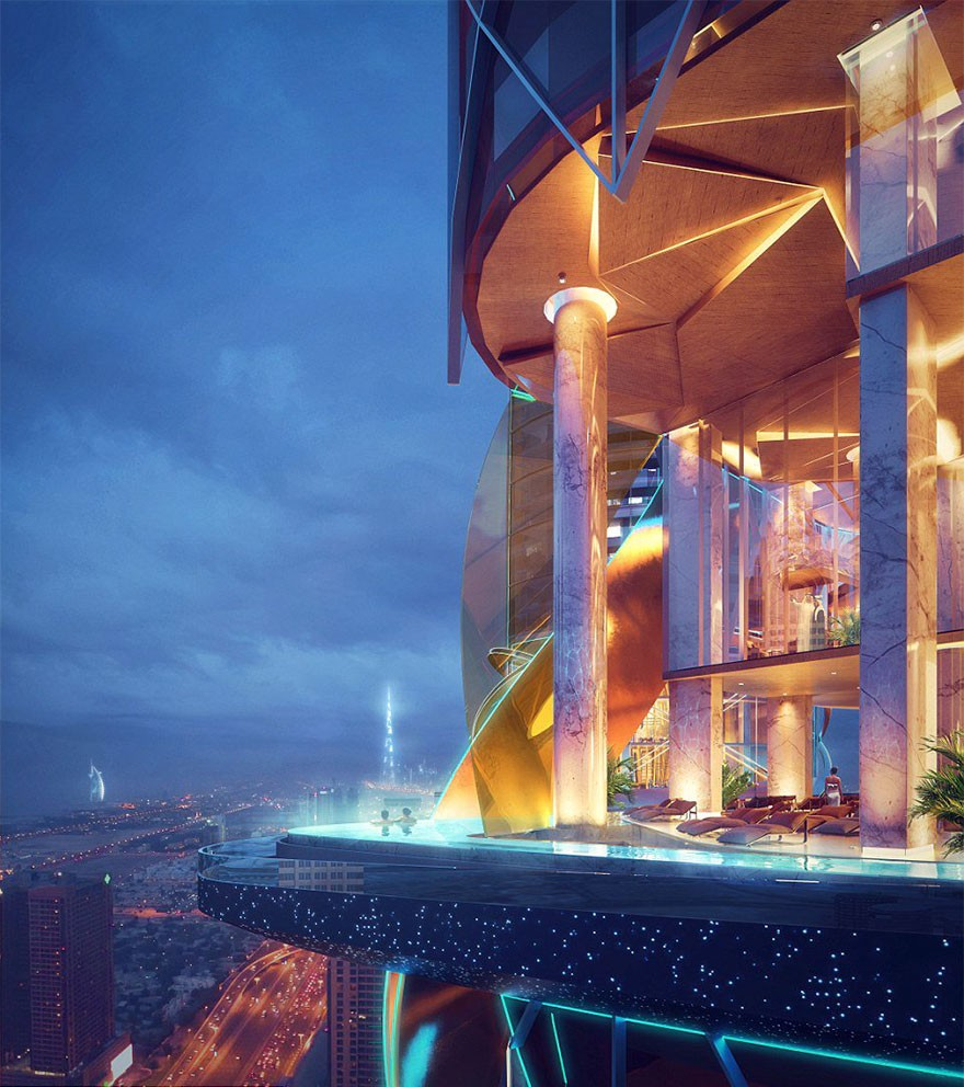 Dubai Has Plans To Open The World's First Hotel With A Rainforest Inside Of It - ZAS Architecture, the designers behind the $300 million project, is creating some seriously cool amenities, like this infinity sky pool.