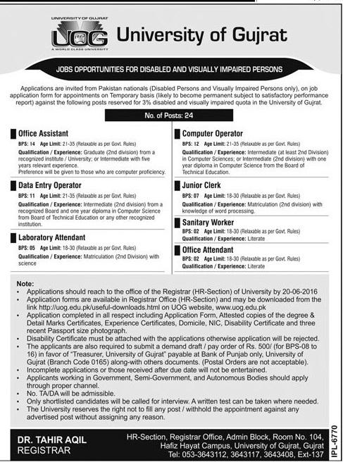 Admin Jobs in Pakistan University of Gujrat
