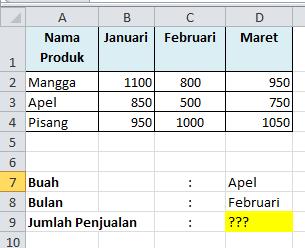 Contoh Soal Excel VLOOKUP 2 Dimensi