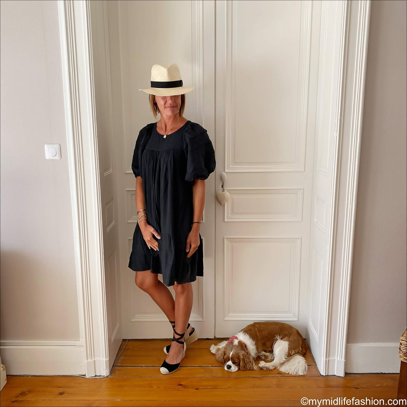 my midlife fashion, h and m Panama hat, Isabel Marant Etoile dress, vionic wedge espadrille heels
