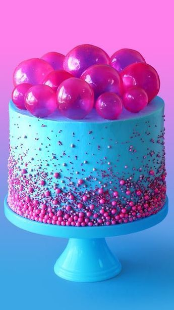 Bubble Pop Electric Cake - Make a cake fit for a pop star with this strawberry bubblegum flavored cake with gelatin bubbles on top.