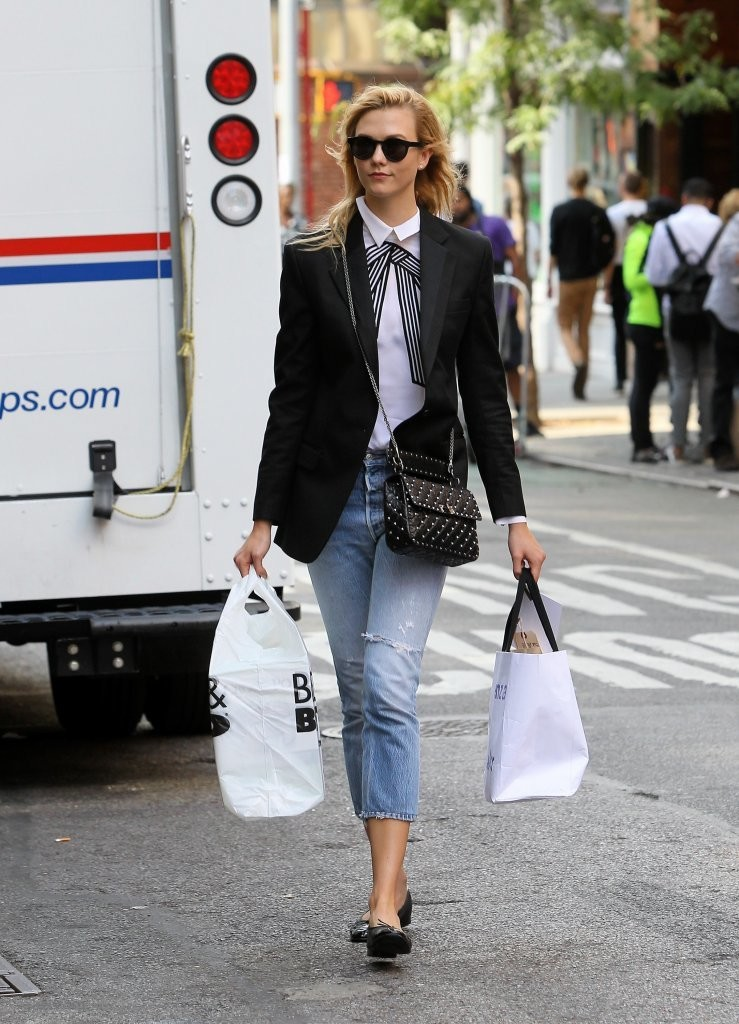 Karlie Kloss Suits Up to Shop in NYC