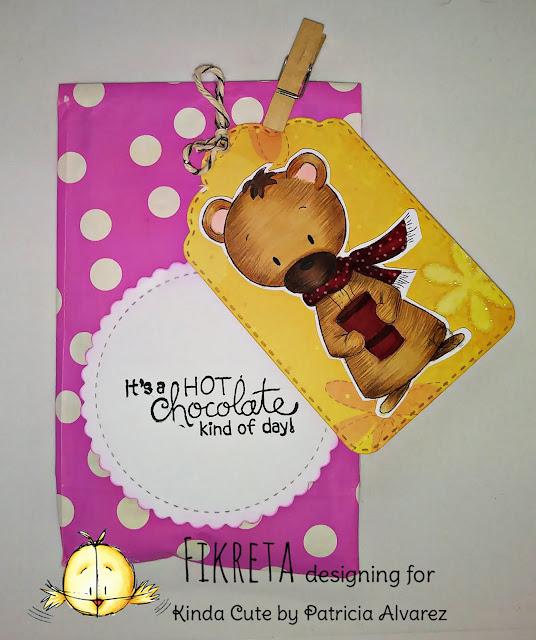 handmade treat bag using bear with cup digital stamp by Kinda Cute by Patricia Alvarez