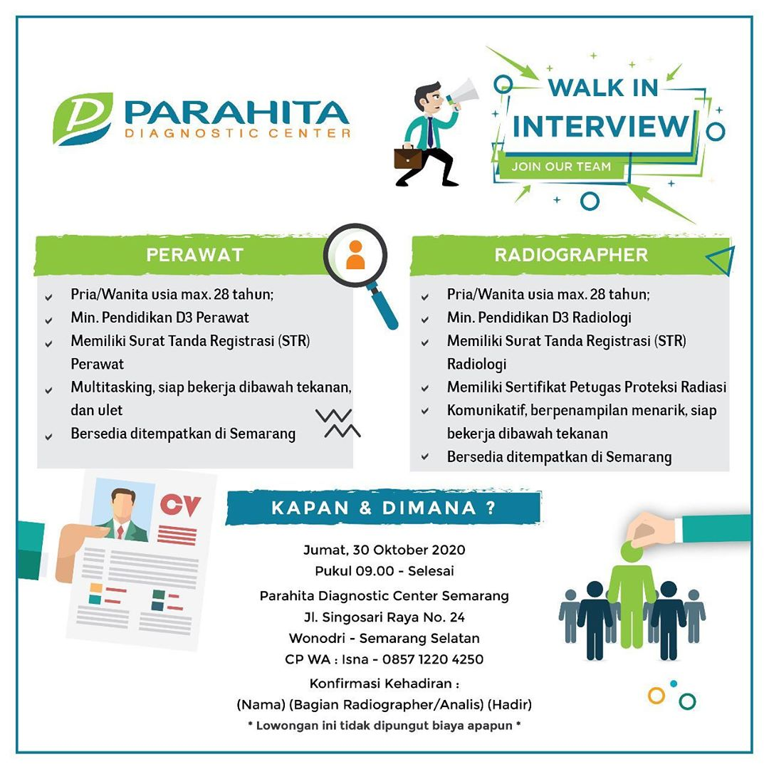 Walk In Interview Perawat & Radiographer di Parahita Diagnosgic Center Semarang