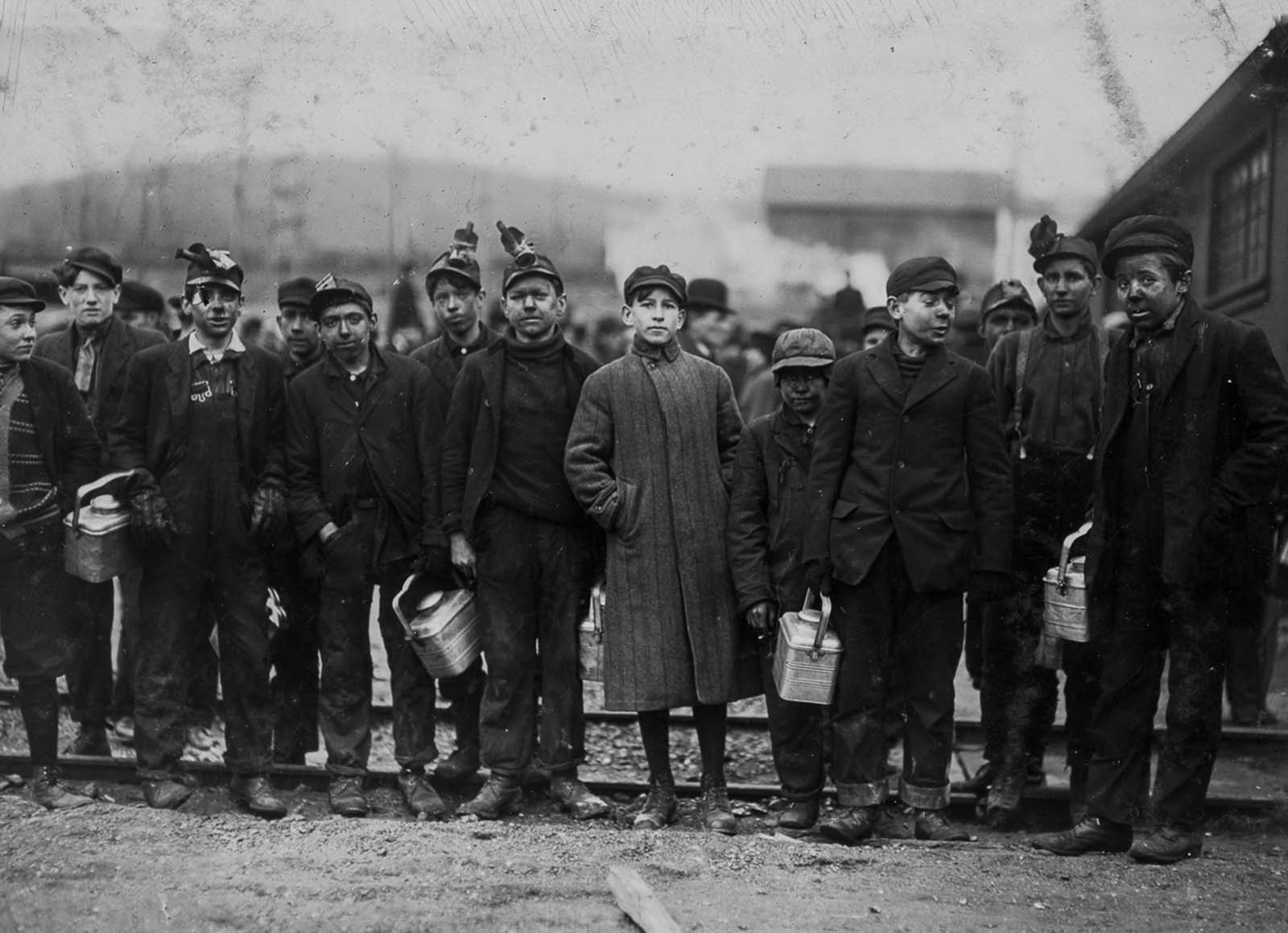 Mine workers in Nanticoke, Pennsylvania. 1911.