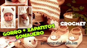 """Gorro y escarpines de """"Ositos"""" al crochet para tu bebé 🐻"""
