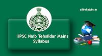 HPSC Naib Tehsildar Mains Syllabus