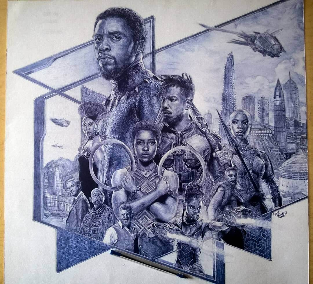 03-Black-Panther-Larry-Tamara-Ballpoint-Pen-Portraits-Progression-Drawings-www-designstack-co