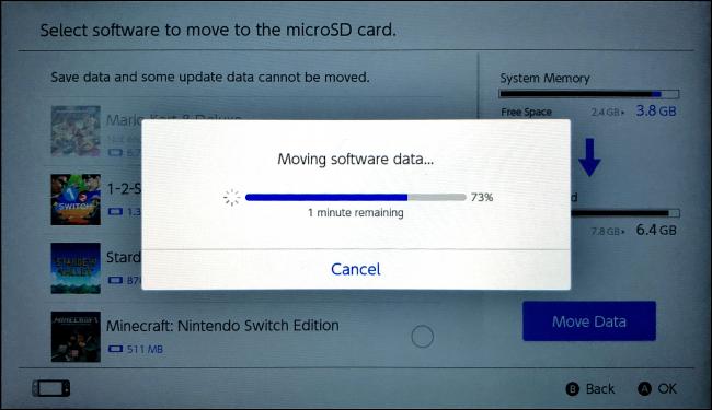 نقل البيانات على Nintendo Switch