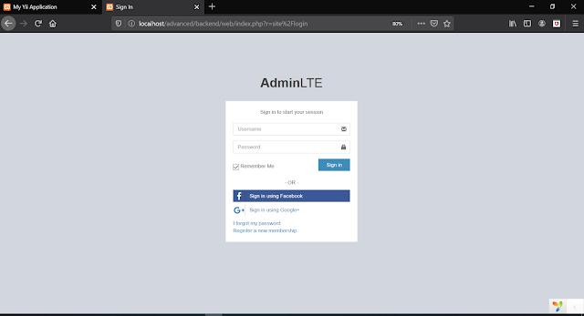 Cara Install Admin LTE YII2 Advanced