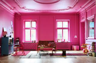 Комната в розовом цвете.  Розовый цвет в интерьере.