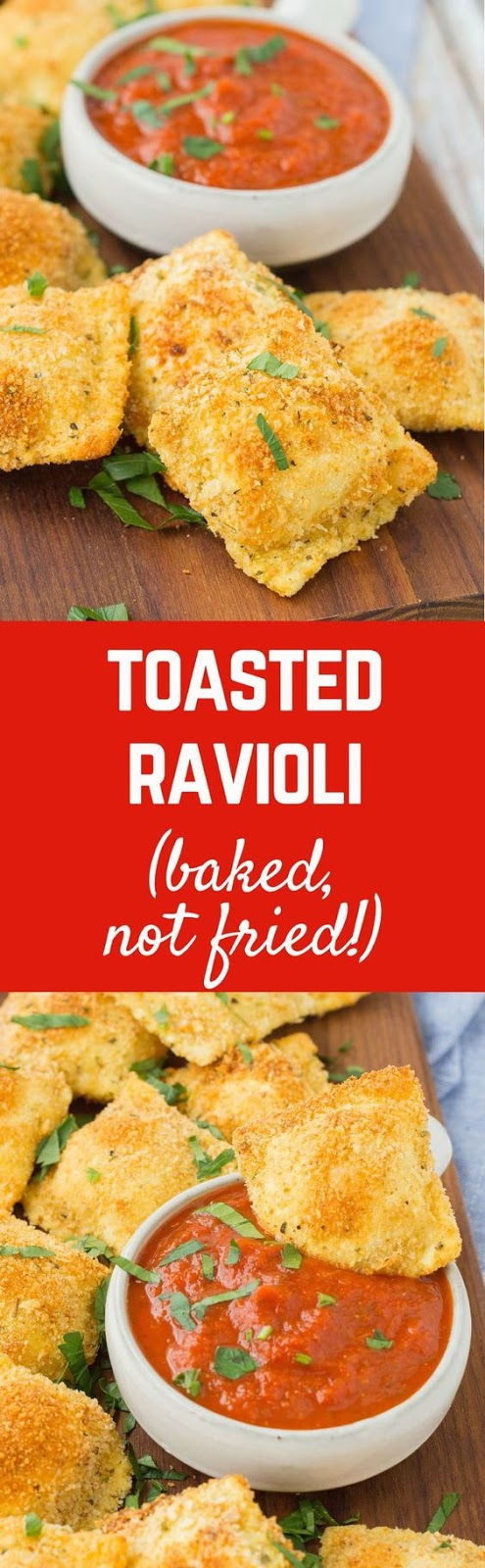 TOASTED CHEESE RAVIOLI WITH PIZZA SAUCE