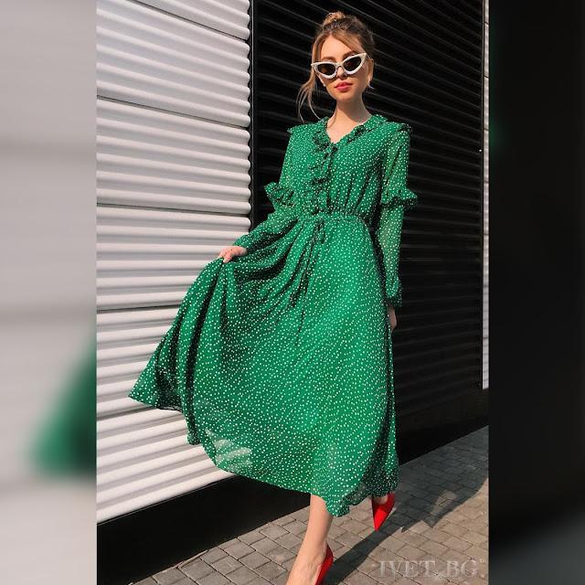 Εντυπωσιακό μάξι πράσινο φόρεμα LORITA